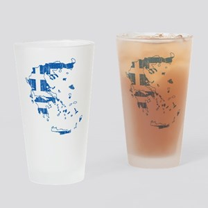 Greece Flag And Map Drinking Glass