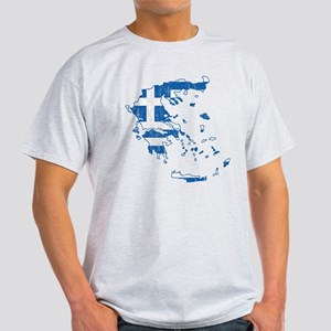 Greece Flag And Map Light T-Shirt