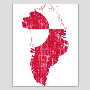 Greenland Flag And Map Small Poster
