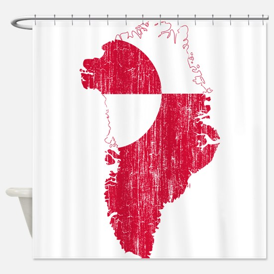 Greenland Flag And Map Shower Curtain