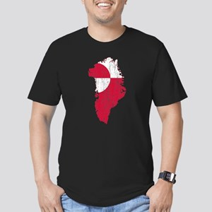 Greenland Flag And Map Men's Fitted T-Shirt (dark)
