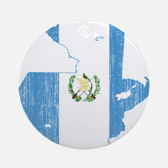 Guatemala Flag And Map Ornament (Round)