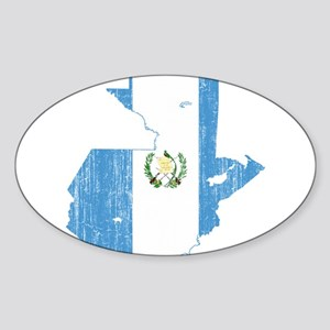 Guatemala Flag And Map Sticker (Oval)