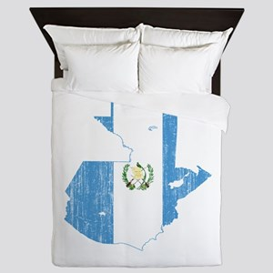 Guatemala Flag And Map Queen Duvet