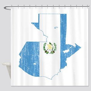 Guatemala Flag And Map Shower Curtain