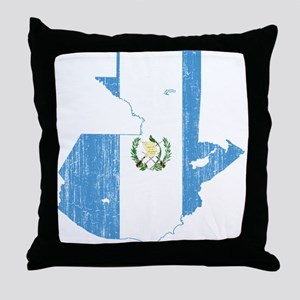 Guatemala Flag And Map Throw Pillow