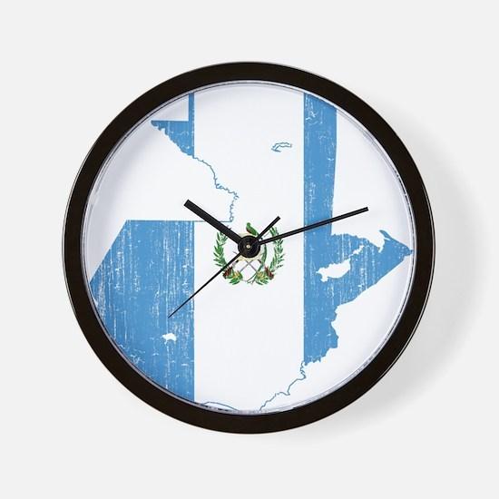 Guatemala Flag And Map Wall Clock