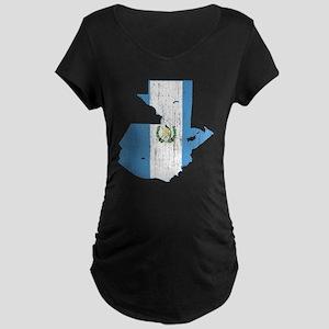 Guatemala Flag And Map Maternity Dark T-Shirt