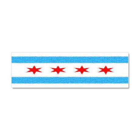 Chicago Flag Car Magnet 10 x 3