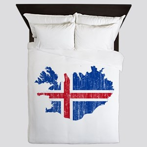 Iceland Flag And Map Queen Duvet