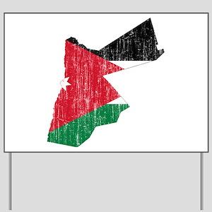 Jordan Flag And Map Yard Sign