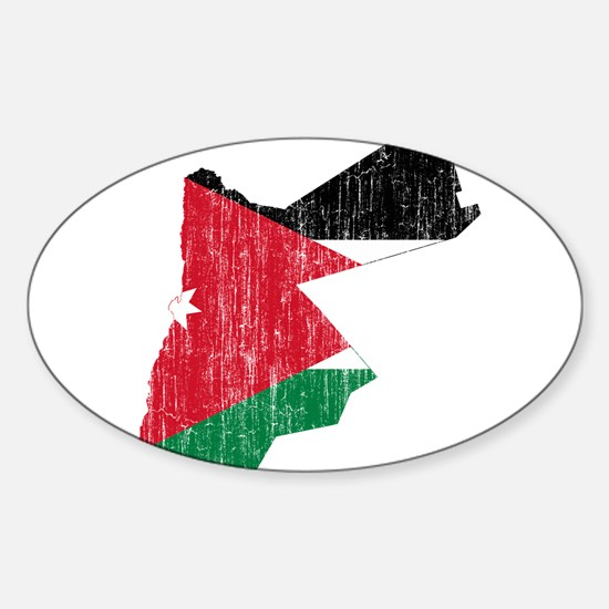 Jordan Flag And Map Sticker (Oval)