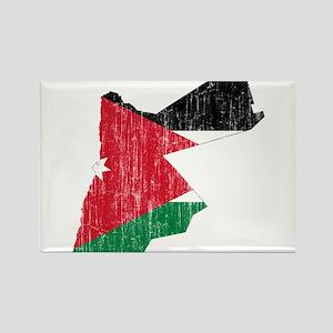 Jordan Flag And Map Rectangle Magnet