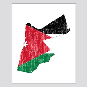 Jordan Flag And Map Small Poster