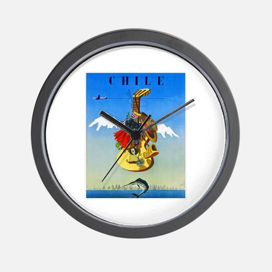 Chile Travel Poster 1 Wall Clock
