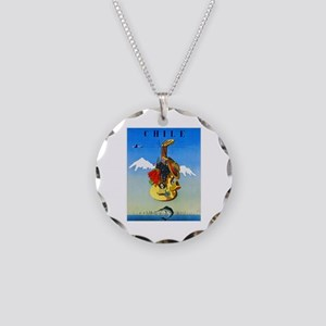 Chile Travel Poster 1 Necklace Circle Charm