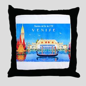 Venice Travel Poster 3 Throw Pillow