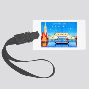Venice Travel Poster 3 Large Luggage Tag