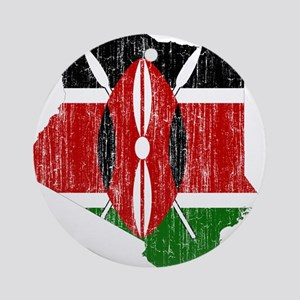 Kenya Flag And Map Ornament (Round)