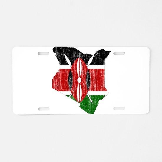 Kenya Flag And Map Aluminum License Plate