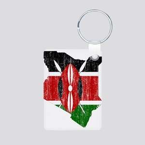 Kenya Flag And Map Aluminum Photo Keychain
