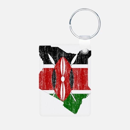 Kenya Flag And Map Aluminum Photo Keychain