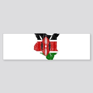 Kenya Flag And Map Sticker (Bumper)