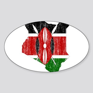 Kenya Flag And Map Sticker (Oval)