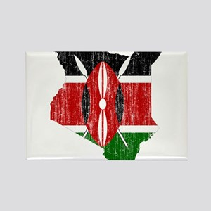 Kenya Flag And Map Rectangle Magnet