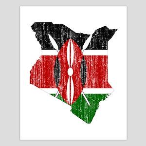 Kenya Flag And Map Small Poster
