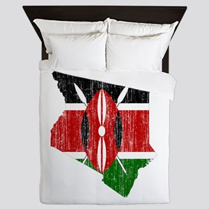 Kenya Flag And Map Queen Duvet