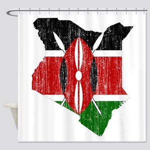 Kenya Flag And Map Shower Curtain
