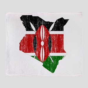 Kenya Flag And Map Throw Blanket