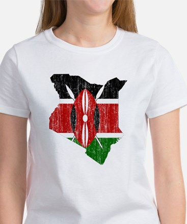 Kenya Flag And Map Women's T-Shirt