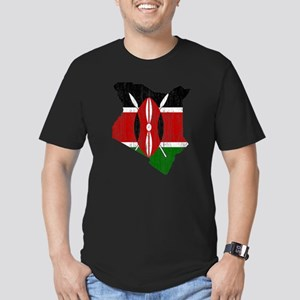 Kenya Flag And Map Men's Fitted T-Shirt (dark)