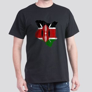 Kenya Flag And Map Dark T-Shirt