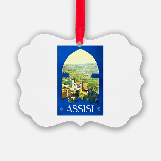 Assisi Italy Travel Poster 1 Ornament