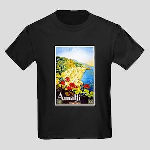 Amalfi Italy Travel Poster 1 Kids Dark T-Shirt