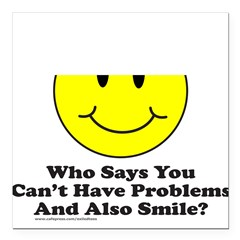SMILEY FACE Square Car Magnet 3
