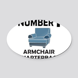 ARMCHAIR QUARTERBACK Oval Car Magnet