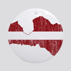 Latvia Flag And Map Ornament (Round)