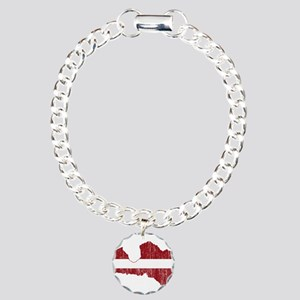 Latvia Flag And Map Charm Bracelet, One Charm
