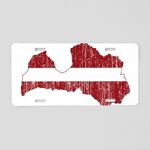 Latvia Flag And Map Aluminum License Plate