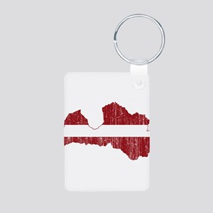 Latvia Flag And Map Aluminum Photo Keychain