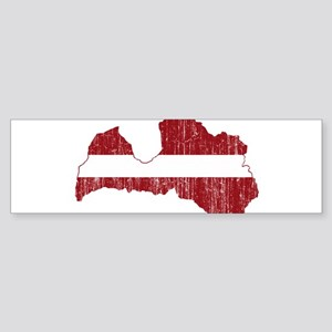 Latvia Flag And Map Sticker (Bumper)