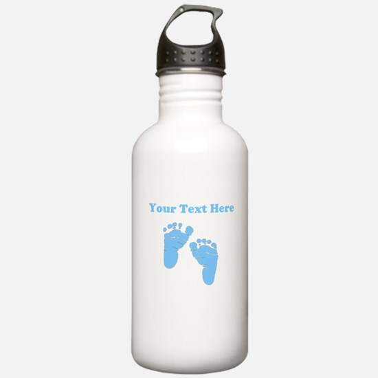 Personalized Baby Feet Blue Water Bottle