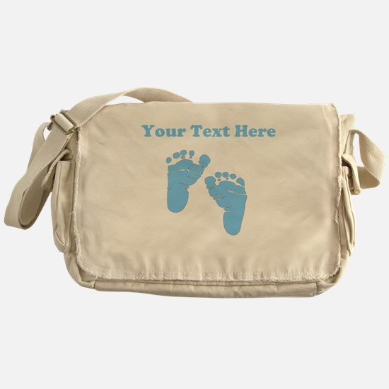 Personalized Baby Feet Blue Messenger Bag