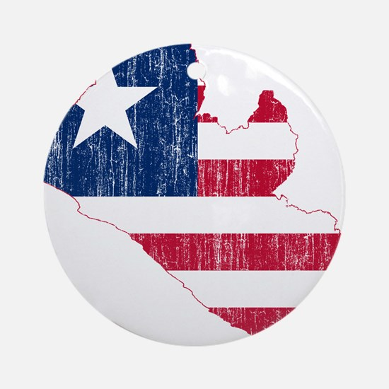 Liberia Flag And Map Ornament (Round)