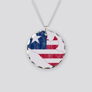 Liberia Flag And Map Necklace Circle Charm