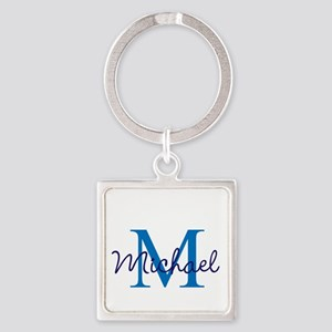 Personalize Initials and Name Square Keychain